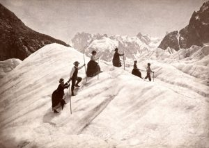 Ladies and guides on glacier, Mont Blanc